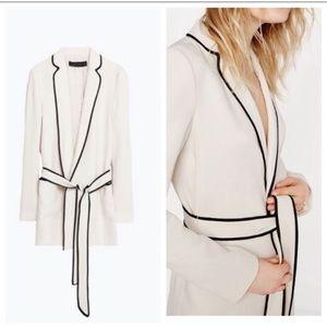Zara Woman Ivory Belted Blazer
